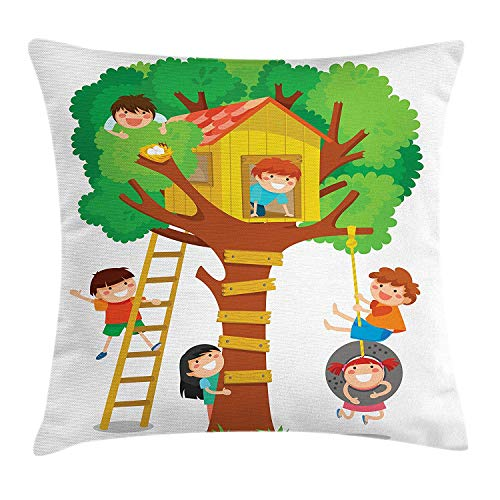 Kids Throw Pillow Cushion Cover, Cheerful Little Boys and Girl Playing in a Tree House Happy Childhood Friends Cartoon, Decorative Square Accent Pillow Case, 18 X 18 inches, Multicolor (Happy Tree De Halloween Friends)