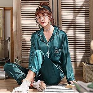 Kllomm Paar Pyjamas Frauen Frühling und Herbst Seide Langarm Pyjama Herrenanzug Seide Größe Pijama -Dark_Blue_Men's_L