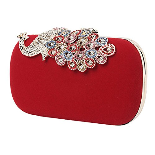 Peacock-stoff-handtaschen (frauen strass peacock velvet party clutch abendtaschen. (16 x 9.2 cm) . red . one size)