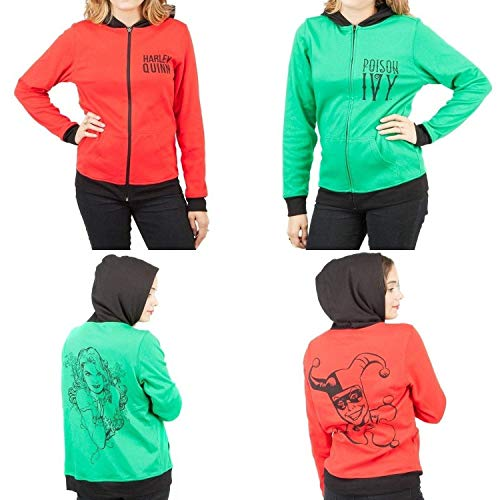 DC Comics Harley Quinn & Poison Ivy Reversible Womens Hoodie Jacket, Large Dc-reversible Sweatshirt