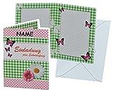 Unbekannt Einladungskarte zum Schulanfang - Blumen Schmetterlinge mit Umschlag - incl. NAMEN - Karte Karten für Mädchen Schuleinführung Schulstart Blume Schmetterling r..