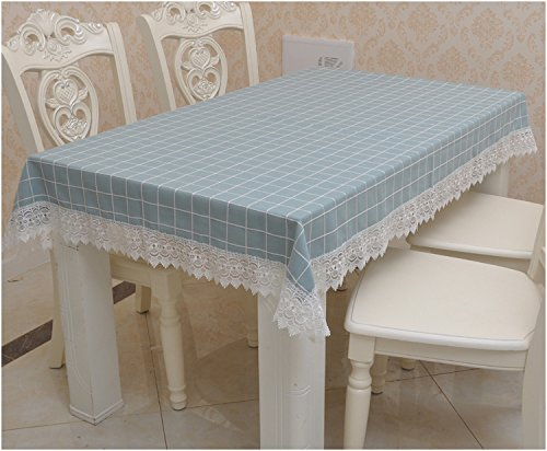 Preisvergleich Produktbild Jhxena Grid Tischtuch Rechteckig Baumwolle Speisen Tischdecken,, Blau 140*190 Cm