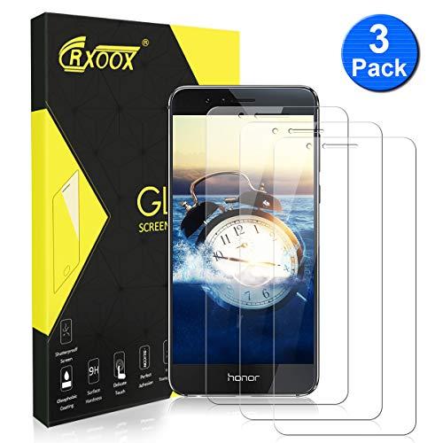 Pack von 3 Gehärtetem Glas für Huawei Honor 8 Gehärtetem Glas Bildschirmschutzfolie Schutzglas Anti-Crack Kratzfest Keine Luftblasen Ultra Resistant Härte 9H für Huawei Honor 8 - 3D Touch Kompatibel