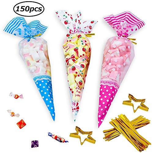 c1cf6a69a SWZY150 PCS Bolsas de Cono Transparentes,BolsasTriángulo Claro Bolsas de  Celofán OPP Bolsas de Plástico Galletas Galletas Dulces Galletas Lollipop  Tratar ...