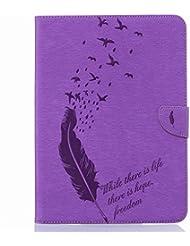 Funda Samsung Galaxy Tab S2 9.7 / T813 T819 T810 T815 Carcasa, Ougger Billetera PU Cuero Magnética Stand Silicona Flip Piel Bumper Protector Tapa Cover Case con Ranura para Tarjetas, Sueño Pluma Púrpura