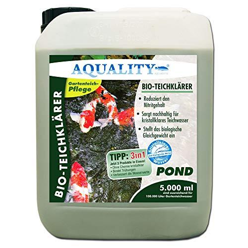 AQUALITY Gartenteich Bio-TeichKlärer 3in1 (GRATIS Lieferung in DE - Deutlich Besser, nachhaltig kristallklares Wasser, entfernt Trübungen + GRATIS Klarwasser Filtervlies), Inhalt:5 Liter