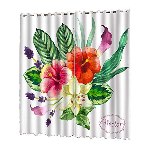 Nncande 2PCS Nordic Pflanze Series Verschiedenes Blumendruck Duschvorhang Badvorhänge Shower Curtain, Wasserdicht, Polyester, Schimmelresistent, Antibakteriell 132x215cm