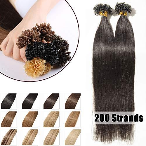 200 Mèches Extension Cheveux Naturel Keratine Pose a Chaud 100G Pre Bonded Nail U Tip Remy Human Hair Extensions - #1B Noir naturel - 40cm