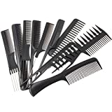 Peignes Kit de Coiffure Professionnel Plastique Set 10 Coiffeur Barbiers Peignes pour Barbier Cheveux Coiffure