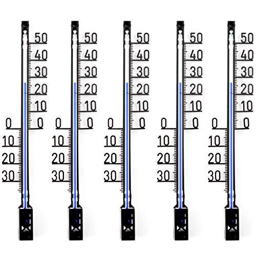 Lantelme 5 Stück Set Garten - Aussen Thermometer Gartenthermometer Deutsche Herstellung Analog, Kunststoff, Farbe schwarz