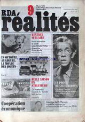 R.D.A. REALITES [No 9] du 01/09/1973 - RENTREE SCOLAIRE AVEC URSULA HOFER - AU LOUVRE - LE MONDE DU JOUET - ATHLETISME - OTTO NAGEL AU MUSEE DE LA MARKISCHES - M. MENARD - COOPERATION ECONOMIQUE. par Collectif