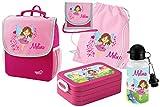 Mein Zwergenland Set 6 Kindergartenrucksack mit Brotdose, Turnbeutel aus Baumwolle, Trinkflasche und Brustbeutel Happy Knirps Next mit Name Fee, 5-teilig, Pink