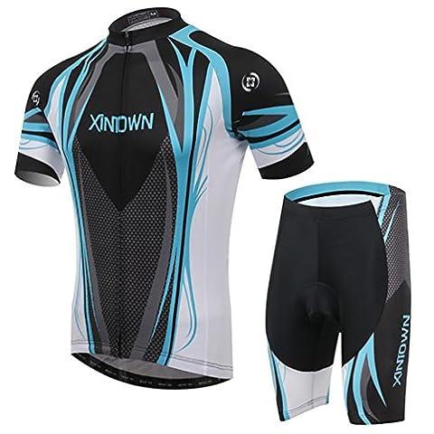 Baymate Hommes Ensemble de Cycliste Outdoor Vêtements de Cyclisme à manches courtes + Pantalons de Cyclisme Respirant