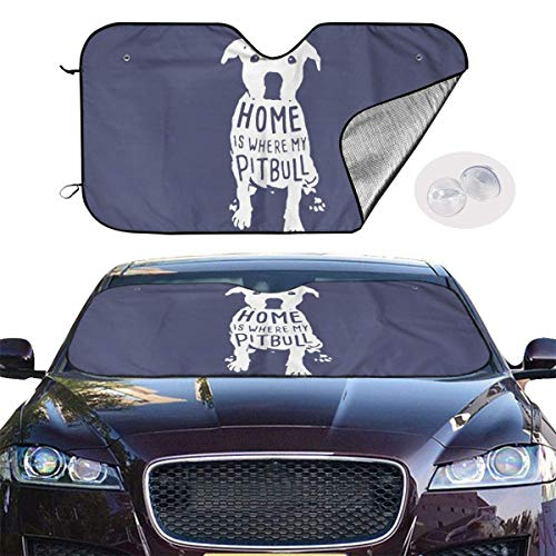 VTIUA Parasol para Parabrisas Frontal de Coche,Home is Where My Pitbull Portable Universal Sunshade Keeps Vehicle Cooler for Car,SUV,Trucks,Minivan Automotive and Most Vehicle Sunshade (51 X 27 in)