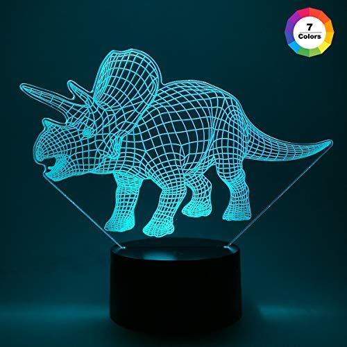 Nachtlichter für Kinder Triceratops Dinosaurier 3D Nachtlicht Nachttischlampe 7 Farben ändern mit Fernbedienung Beste Geburtstagsgeschenke für Jungen Mädchen Kinder Baby (Abs Halloween Leistung)