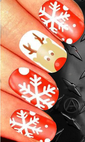 CHRISTMAS REINDEER SNOWFLAKES nail art decals alterNAILtive XMAS010 transfers stocking filler gift box (Red Reindeer)