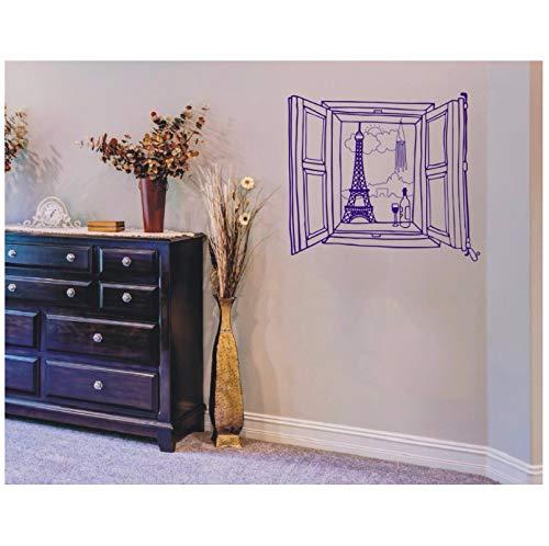 jqpwan Wandtattoo Vinyl Aufkleber Paris Fenster Eiffelturm Wandkunst Design Schlafzimmer Wohnzimmer Dekoration Tapete Poster Wandbild 66 * 57 cm (Paris-fenster-aufkleber)