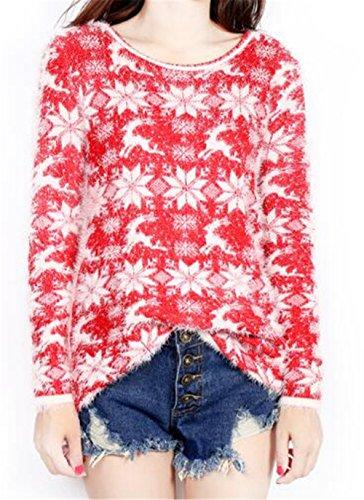 Gogofuture Maglione Donna Sexy Maglione Pullover Elegante Sweatshirt Stampati Albero Di Natale T-Shirt Manica Lunga Blusa Rotondo Collo Maglietta Tops Taglie Forti Felpe Red