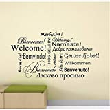 Willkommen Wandtattoo Zeichen Verschiedene Sprachen Wort Poster Vinyl Aufkleber Klassenzimmer Büro Dekor Zitat Flur Wandkunst 57x31 cm