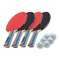 Killerspin JET SET 4 Ping Pong Paddle Set with 6 Balls Ð Beginner Table Tennis Racket Set| 5 Layer Wood Blade, Jet Basic Rubbers, Flared Handle| Practice Quality Ping Pong Bat|