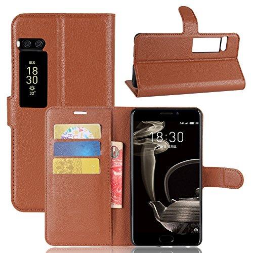 Kihying Hülle für Meizu Pro 7 Plus Hülle Schutzhülle PU Leder Flip Wallet Fashion Geschäft HandyHülle (Brown - JFC01)