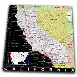 3dRose db_174450_1 Image of California Map with Cities in Vivid Color-Drawing Book, 8 by 8-inch