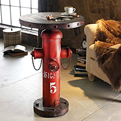 "Beistelltisch ""Fireplug Hydrant"" Industrial-Style Shabby Chic Metall/Holz rot ca. 79 cm hoch 50 cm Ø"