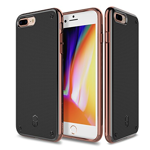 Patchworks Flexguard Hülle für iPhone 8 / 7 Hülle - Slim Fit Protective Schutzhülle iPhone 8 / 7 Case mit Poron XRD, Cover iPhone 8 / 7 Tasche, iPhone 8/ 7 Schutzhülle silber [Silver ITGL512] pink