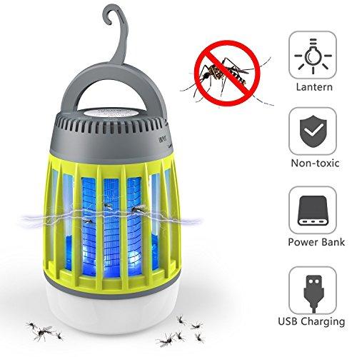 Zanzariera elettrica 3 in 1 lampada anti zanzare lanterna da campeggio batteria portatile lampada zanzare da esterno impermeabile portatile con batteria ricaricabile verde