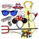 Verkleidung Set PartyHard - 10 Requisiten für Fotos, Fotobox, Hochzeit und Geburtstag - Bunte Party Accessoires - Brillen, Blumen, Teufelshörner, Mausohren, Dollar-Kette, Dreizack (Set PartyHard)