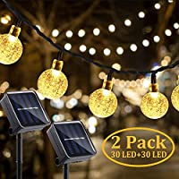 Gluckluz Solar String Lights 30 LED Outdoor Globe Rope Decor Lighting for Indoor Home Garden Party Holiday Patio (Warm, 2 Packs)