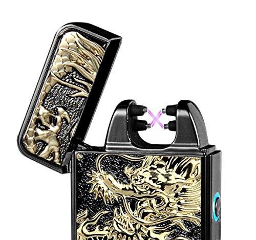 #Aokvic USB Elektronisches Feuerzeug aufladbar lichtbogen (Schwarz Drache)#