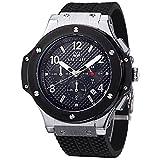 Megir Uhren Herren Militär Schwarz Silikon Armband mit Chronograph Quarz Groß Zifferblatt Armbanduhren für Männer