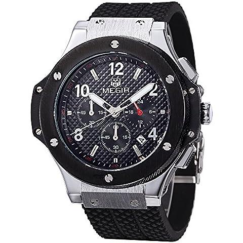 Megir - Reloj de pulsera de cuarzo para hombre, diseño deportivo, correa de silicona, dial de gran tamaño, color negro