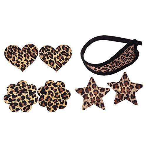 SODIAL(R) 3 Paar Einweg Nippel Abdeckungen Nipple Cover und Leopard Bowknot C-String unsichtbar Thong - Leopard Print Höschen