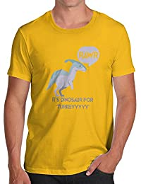 TWISTED ENVY Dinosaur For Turkey Men's Funny 100% Cotton T-Shirt, Crew Neck, Comfortable and Soft Classic Tee with Unique Design