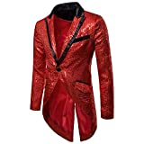 Amoyl Herren Smoking Sakko Anzug One Button Elegante Freizeit Pailletten Abendanzug Jacke Host Show Party Karneval Kostüm Mantel (Rot, 2XL)