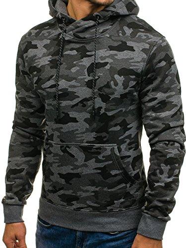 BOLF Herren Pullover mit Kapuze Sweatshirt Langarmshirt Sweatjacke Militär Army Camo Muster 1A1 Dunkelgrau_DD129-1