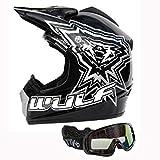WULF SPORT Casco Bambini Moto Casco Scooter Off-Road Casco Motocross ATV Racing Nero + occhiali (S)