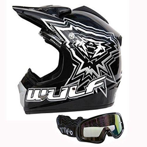 Motorradhelm für Kinder WULFSPORT ATV Helm Motocross Rennhelm Mit Brille Alle Farbe (M, Schwarz)