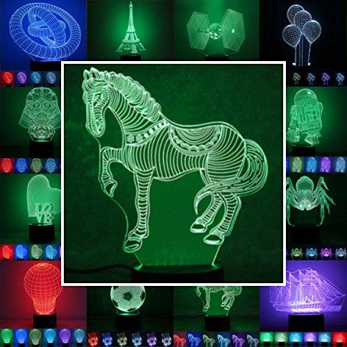 Leuchten Pferd (3D Lampe 3D Leuchte 3D LED Stimmungslicht. 7 verschiedene Farben wählbar - Auswahl aus 81 verschiedenen Motiven, hier Pferd ca.21x17cm inkl.Sockel - 3D Illusion Dekolicht mit USB Anschluß und 220V USB Netzteil)
