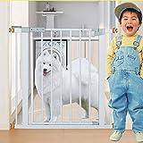 Barrière de sécurité Pet Gate pour Chiens Chats Extra Large Barrière De Porte pour Porte Escaliers Hallway 75-126 Cm Large Blanc Métal Portes De Sécurité Intérieure (Taille : 75-84CM)