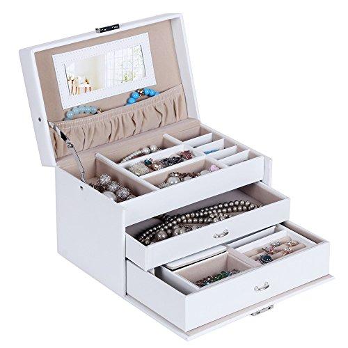 Songmics Schmuckkästchen abschließbar mit spiegel Schublade und Mini-Box (Weiß) JBC126W - 2
