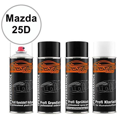 Preisvergleich Produktbild TRISTARcolor Autolack Spraydosen Set für Kunststoff Stoßstange für Mazda 25D Snowflake White Perl / Whitewater Perl Haftgrund Grundlack Basislack Klarlack mit Weichmacher Sprühdose