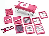 #2: Kitchen Bazaar™ 13 in 1 Premium Nicer Fruit & Vegetable Cutter - Chopper, Grater, Slicer,Peeler - All In One (Pink)