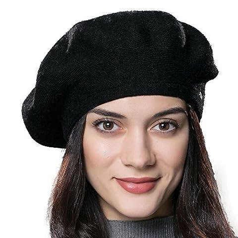 Beret Femme Noir - URSFUR Bonnet Béret Tricot Sans Pompon Femme