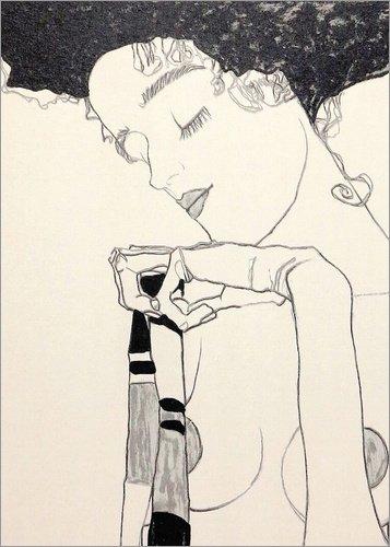 Poster 50 x 70 cm: Gerti Schiele von Egon Schiele - hochwertiger Kunstdruck, neues Kunstposter