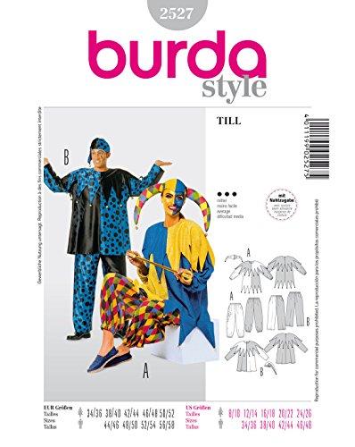 Mittel Kostüm - Burda 2527 Schnittmuster Kostüm Fasching Karneval Till Eulenspiegel Harlekin (Damen & Herren, Gr. 34-52) - Level 3 mittel