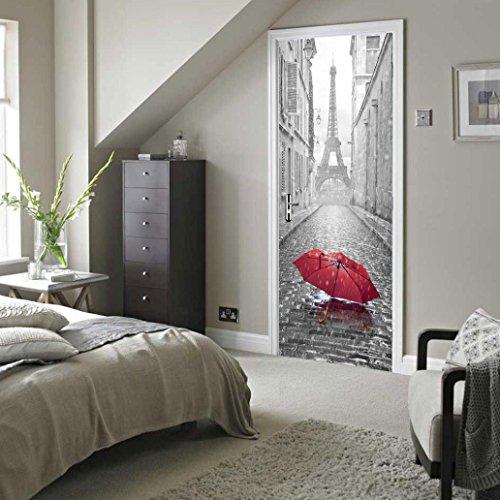 Fuibo 3D Zuhause Dekor Tapete Tür Aufkleber Paris Eiffelturm wasserdichte Abziehbild Wand - Paris-wand-aufkleber
