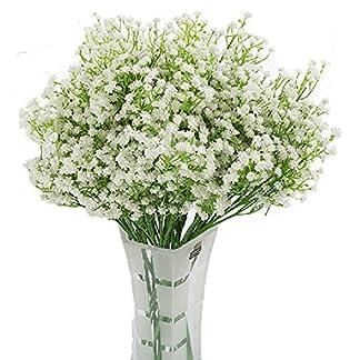 LNHOMY – 10 Flores Artificiales de gypsophila con Tacto Real para el Aliento del bebé, Flores de Seda Artificial, para Bodas, Fiestas, decoración del hogar, jardín, Bricolaje, Flores (Crema)